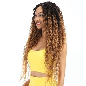 Lace Front Wigs Ombre Blonde 28'' Long Small Curly